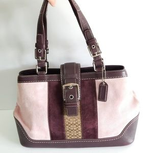 Coach pink burgandy suede satchel purse handbag